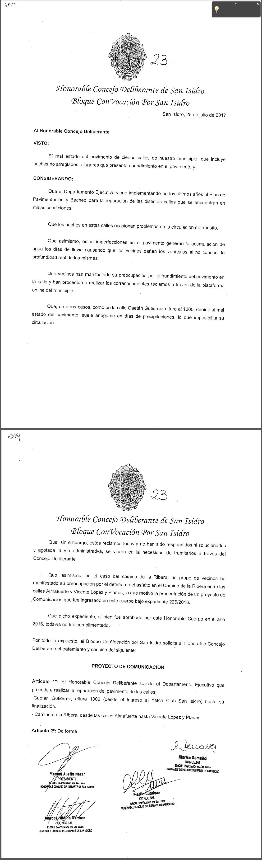 Muebles El Cepo Beccar - La Reparaci N Del Pavimento En Las Calles Gaet N Gutierrez Y [mjhdah]http://www.convocacion.org.ar/HCD/Proyectos/351-HCD-2017.png