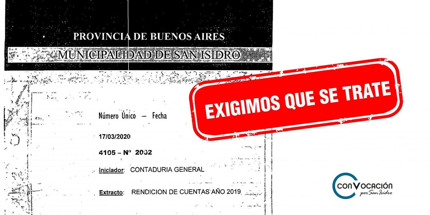 Desde el vecinalismo reclamamos el tratamiento URGENTE de la Rendición de Cuentas 2019
