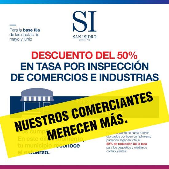 Descuento en tasa por Inspección Comercio e Industria en San Isidro: Es un comienzo, pero no es suficiente. Nuestros vecinos merecen más.